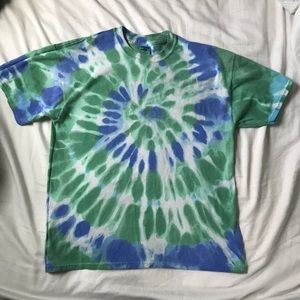 Vintage Hand Tie Dyed Blue and Green Tee